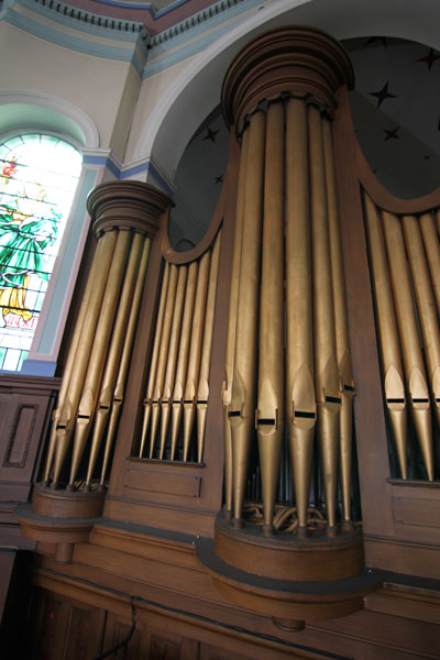 Visible pipes of the Organ in Upper Chapel.  (There are several thousand pipes in all).