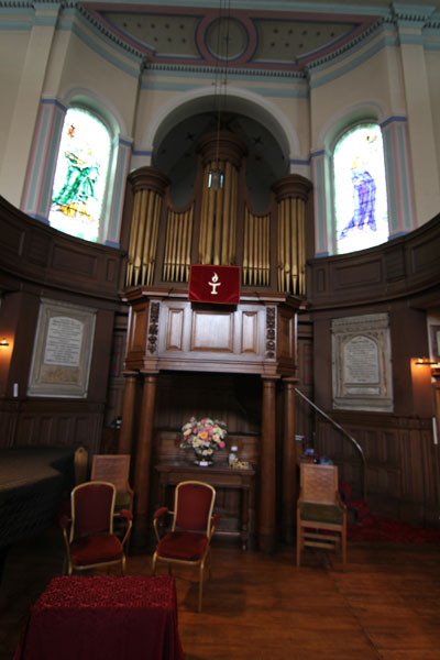 The pipes of Upper Chapel's 3 manual Wadsworth-Keats organ, one of the finest organs in the City.  Console is beneath the raised (Gallery) pulpit.