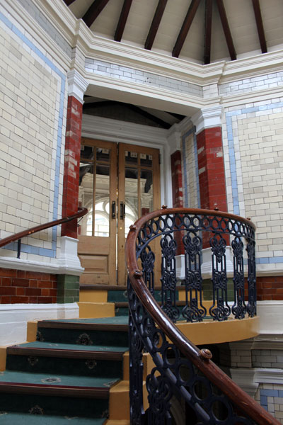 The magnificent spiral staircase leading from Surrey Street up to Channing Hall.