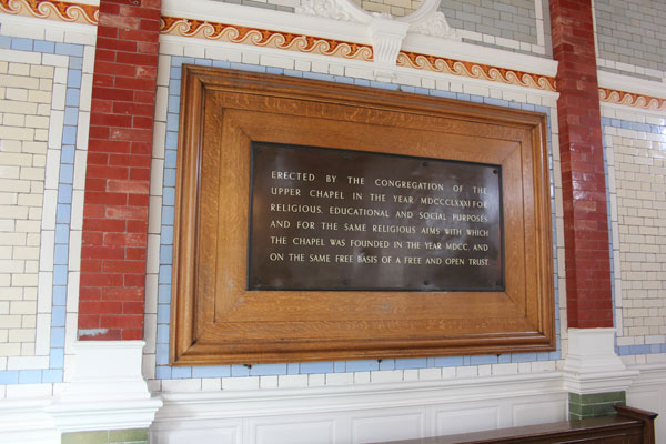 Tablet in Channing Hall stating Purpose.