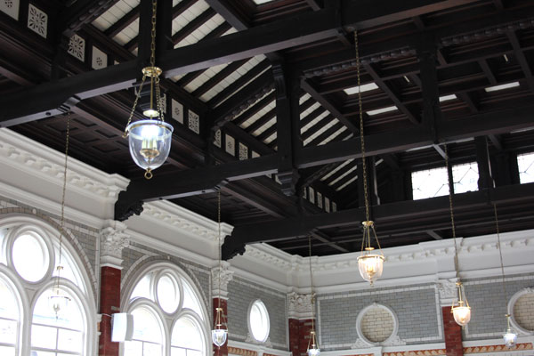 The magnificent oak roof structure of Channing Hall.