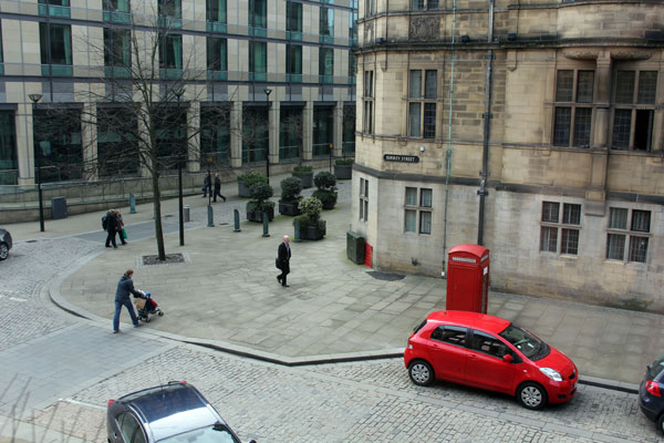 View from Channing hall onto Surrey Street and the corner of Sheffield Town Hall.