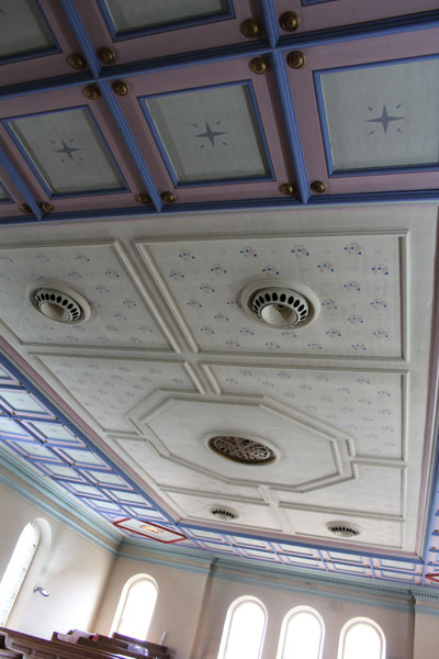 Ceiling detail showing original ventilation in centre for candle and gas mantle fumes.