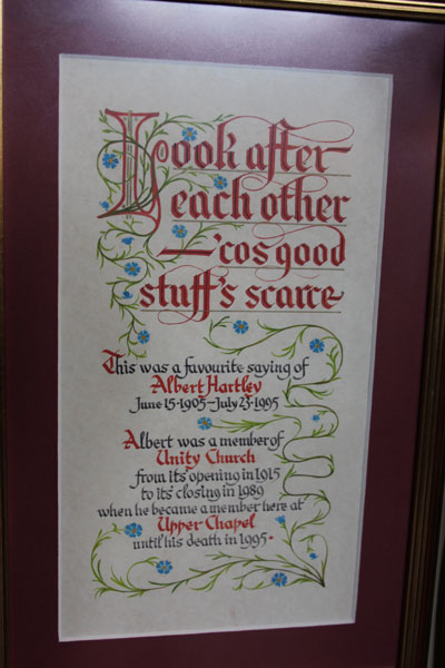 Illuminated dedication to Albert Hartley, much loved member of Upper Chapel and formerly, Unity Church, Crookesmoor.