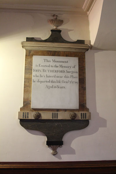 One of a number of tablets and memorials to past Members, Trustees and Benefactors of Upper Chapel, linked with Sheffield's great past.