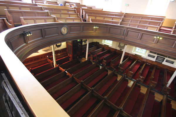View from the Gallery of the Chapel pews below.
